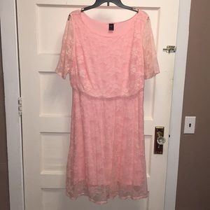 Wrapper Soft Pink Lace Midi Dress